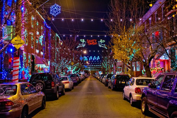 S. 13th Street Holiday Lights.  Photo by J. Fusco